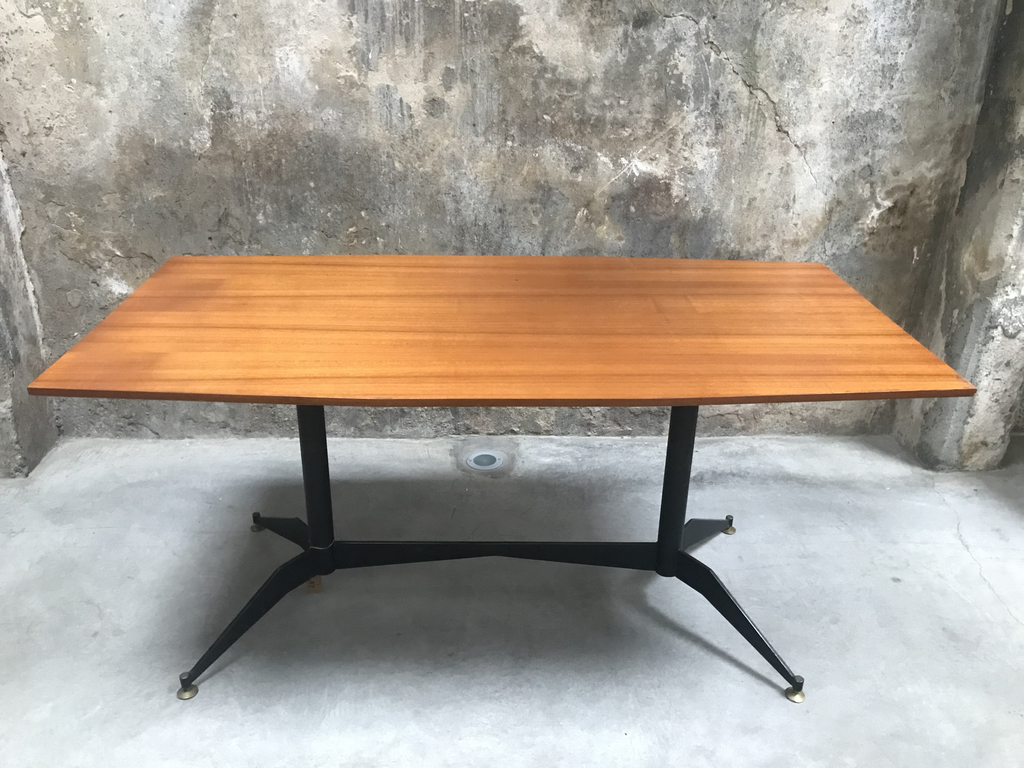 Tavolo da pranzo in legno e metallo anni '60