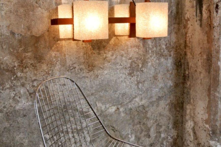 Lampadario Mid-Century in teak e materiale plastico